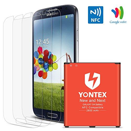 YONTEX Batería para Samsung S4, NFC /Google Wallet, Batería de repuesto 2600mAh para Samsung Galaxy S4 con 3 Paquetes protector de pantalla [i9500, i9505, LTE i9506]