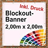 Premium Banner 900g/m² | Werbebanner / Werbeplane | 2m x 2m | blickdicht | inklusive Ösen | brillanter Druck - besonders stabil - wetterfest | einseitig mit Ihrem Motiv bedruckt