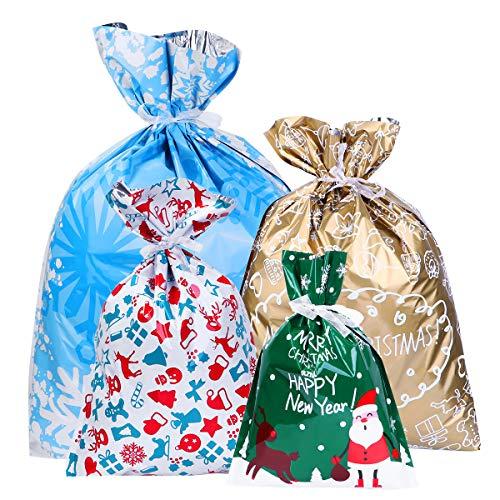 BESTOYARD Weihnachtsgoody-Beutel-Geschenk-Beutel-Zugschnur-Geschenk-Verpackungs-Taschen-Aluminiumfolie-Geschenk-Taschen-Satz sortierte Arten für den Feiertag 30PCS