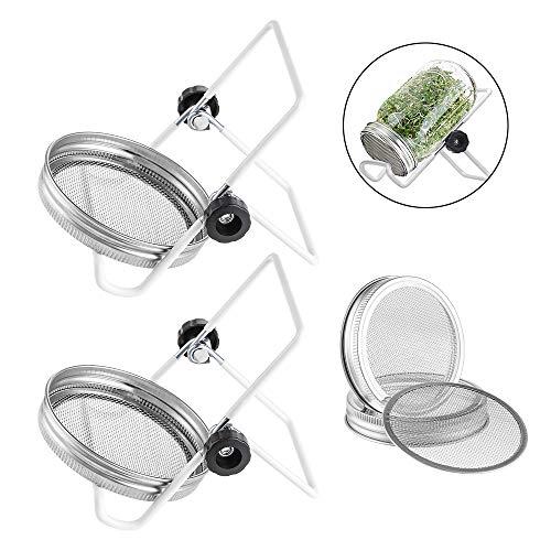 Junejour 4-Pack Edelstahl-Sprießdeckel Kit mit 2-Pack-Edelstahl-Sprießständen für Weithals-Mason-Gläser Canning-Gläser für die Sprout-Herstellung