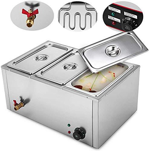 HODOY Scaldavivande Elettrico 220V Scaldavivande a 2/3/4/6Vassoi Scaldavivande Elettrico in Acciaio Inox 850W Buffet Food Warmer per Catering e Ristoranti (3 Piatti)