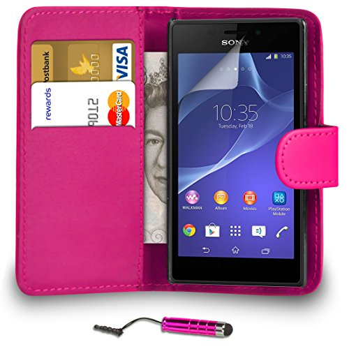 sony-xperia-m2-pu-leather-hot-pink-wallet-flip-case-cover-pouch-mini-touch-stylus-pen-screen-protect