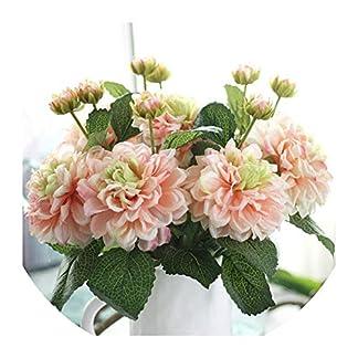 Seesaw-Min 2 Cabezas dalias de Las Flores Artificiales de Seda vívidos caída Real Touch Fake Flowers for Wedding Party jardín de DIY decoración Floral, Rojo de Rose