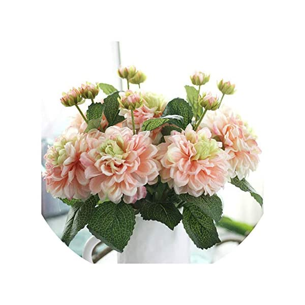 Seesaw-Min 2 Cabezas dalias de Las Flores Artificiales de Seda vívidos caída Real Touch Fake Flowers for Wedding Party…
