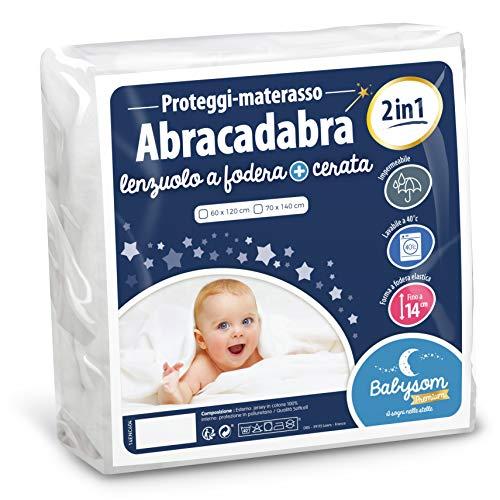 Babysom - coprimaterasso lettino bambino «2 in 1» | per neonato - 60x120 cm - lenzuolo + proteggi materasso  impermeabile - 100% cotone - silenzioso -traspirante