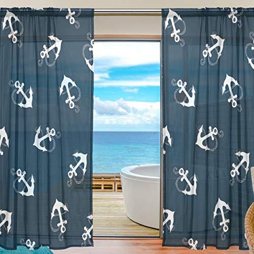 Lustiger Vorhang aus Tüll, Marineblau, nautisches Ankermuster, Tüll-Voile, Vorhänge für Schlafzimmer, Wohnzimmer, Wohnzimmer, Wohnzimmer, Heimdekoration, 139,7 x 198 cm, 2 Paneele, 55 x 78 inch