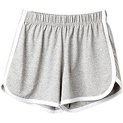 SHOBDW Las Mujeres de Moda señora de la Cintura elástica Verano sólido hasta la Rodilla cómodos Pantalones Cortos Deportivos Pantalones Casuales de Playa (XL, Gris)