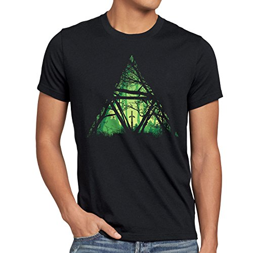 style3 Nature Triforce Herren T-Shirt link Hyrule Gamer, Größe:L (Ds Majora)