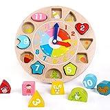 WMAOT Puzzle Lernuhr Holz Intelligenz Sortierung Kinder Uhr 12 Bausteine Pädagogisches Früh Lernen Spielzeug Bunte Lerntafel ab 2 Jahre alt