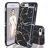 LUOLNH iPhone 7 Plus Case,iPhone 7 Plus Case,Shiny Black Marble Design, Shockproof Clear Bumper TPU Soft Case Rubber Silicone Skin Cover Case for iPhone 7 Plus/8 Plus 5.5 inch