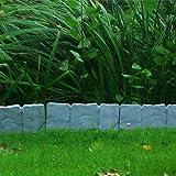 10 unità di bordature da giardino 250 cm plastica effetto pietra