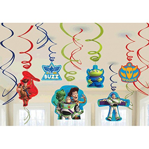 Amscan Toy Story Power Up Birthday Party Hanging Swirl Ceiling Decoration , 7, Red/Green/Blue by Amscan