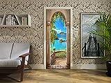 FLFK 30.3x78.7' 3D Mare Balcone Arco Porta Autoadesiva Adesivo per porta Murale Foto Adesivo da parete decalcomania Casa arredamento