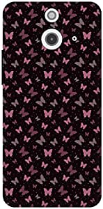 The Racoon Grip Black Butterfly Garden hard plastic printed back case / cover for HTC One (E8)