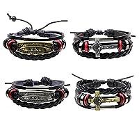 MJARTORIA Unisex PU Leather Hemp Cords Cross Feather Multi Strands Wrap Bracelets Pack of 4