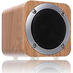 Parlante Bluetooth de madera, ZENBRE F3 6W Parlante Bluetooth 4.1 Inalámbrico con Driver de 70mm, Parlante para Computadora con potentes graves incluidos.(Blanco Roble)