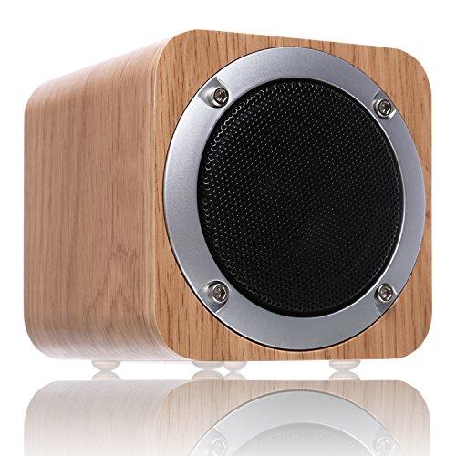 Foto de 【Día de la Madre Regalo】Parlante Bluetooth de madera, ZENBRE F3 6W Parlante Bluetooth 4.1 Inalámbrico con Driver de 70mm, Parlante para Computadora con potentes graves incluidos.(Blanco Roble)