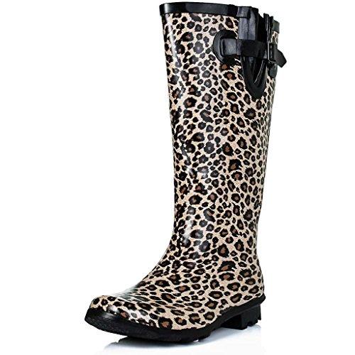 SPYLOVEBUY KARLIE Gummistiefel Regenstiefel Flach Kniehoch Leopard Weitschaft