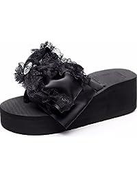 KPHY-Lace Arco Pantofole Donna Summer Moda Magra Bianco Fondo Piatto Pizzicare Pezzi Di Carro 39 Black