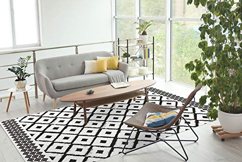 FRENCH VINYL - Alfombra Decorativa, Vinilo, Color Negro y Blanco, 98 x 148,5 cm