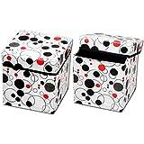 RED HOT Premium Designer Foldable Storage Stool Set of 2