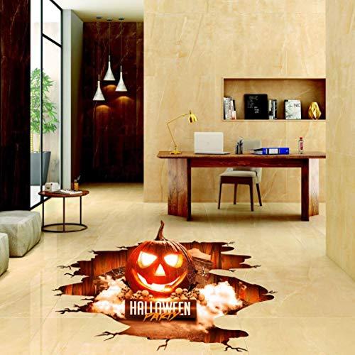 friendGG❤️❤️Halloween Bodenaufkleber Halloween Dekoration 3D rot Kürbis Land Aufkleber, Happy Halloween Home Haushalt Zimmer Wand Aufkleber Wandbild Decal Removable New Dekoration (A) (Land-wand-dekor-aufkleber)