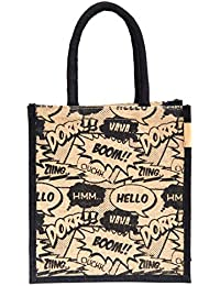 H&B Jute Waterproof Lunch Bag for Men and Women, 11x9x6-inches(Multicolour)