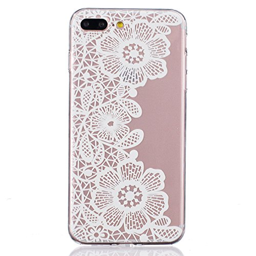 SainCat Coque Housse pour Apple iPhone 7 Plus,Transparent Coque Silicone Etui Housse,iPhone 7 Plus Silicone Case Soft Gel Cover Anti-Scratch Transparent Case TPU Cover,Fonction Support Protection Comp Blanc-Trois fleurs
