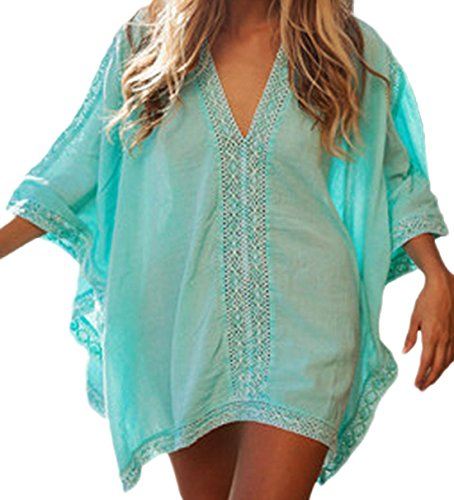 erdbeerloft - Damen Oversized Block Lace-Poncho Beach-Tunika/Shirt, One Size, Türkis (Kleid Geraffte Mesh Top)