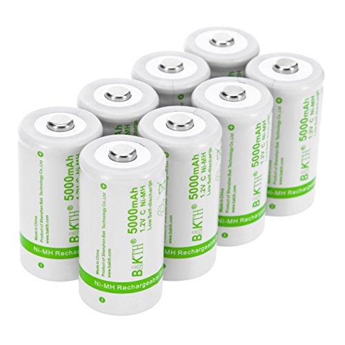BAKTH Aumentada 5000mAh C Tamaño de Alto Rendimiento NiMH Pre-Charged Baja Auto-Descarga Las baterías Recargables para...