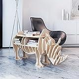 Anself Wooden Rhino Shelf Book Organizer Side Table Home Decor