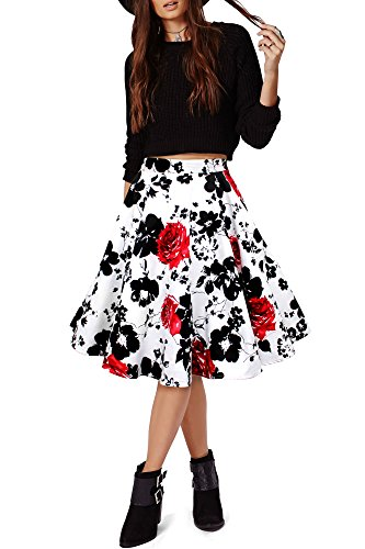 black-butterfly-floreale-lungo-rockabilly-anni-1950-gonna-a-ruota-bianco-rosso-it-46-l
