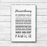 Hausordnung - Dekoschild Wandschild Holz Deko Wand Schild 20x30cm Holzdeko Holzbild Geschenk Mitbringsel Geburtstag