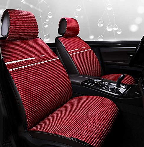 Sets Red Cracked Ice (ZGYQGOO Autositzbezug-Set Sommer Universal Vorne Hinten Autositzkissenbezug Komplettset Handgestrickter Autositzbezug aus Seide, rot)