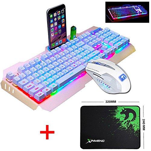 Gaming-laptop-tastatur-licht (UrChoiceLtd 2017 Ajazz Schlacht Axt RGB LED 7 bunte Regenbogen-beleuchtete Multimedia-Ergonomie Usb Gaming-Tastatur + 2400DPI Gaming-Maus für Laptop-Computer (weiß / Gold) keyboard)