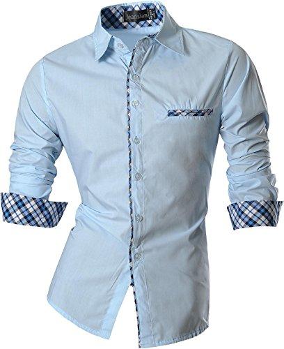 jeansian Herren Freizeit Hemden Shirt Tops Mode Langarmlig Men's Casual Dress Slim Fit Z029 Z020_LightBlue