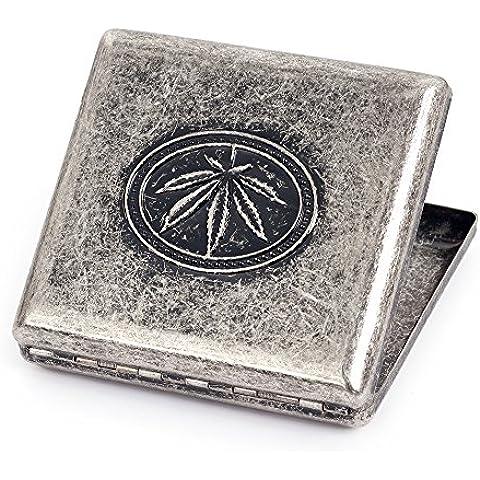 Cobre puro Metal caso de cigarrillos soporte caja para 20cigarrillos Grey Marijuana Leaf