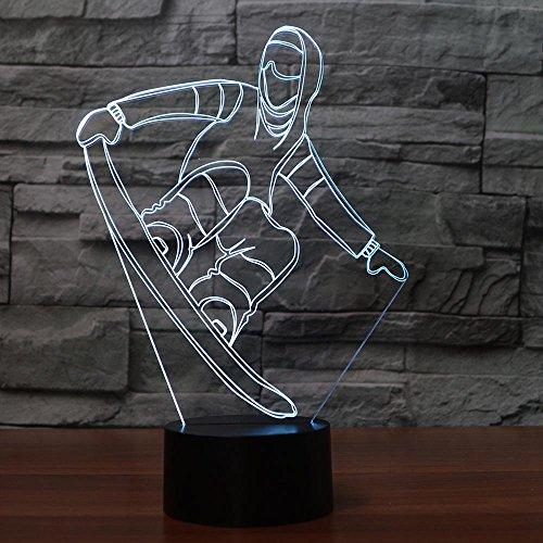 Led Deko 3D Snowboard Tischlampe USB Visuelle Led Bunte Nachtlicht Schlaf Beleuchtung Modell Leuchte Neujahr Geschenke Dekor Mit fernbedienung