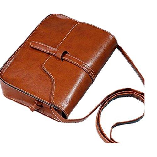 ZARU★Bolso del monedero del vintage bolso del hombro del cuero del faux Bolso cuerpo cruzado★ (Marrón)