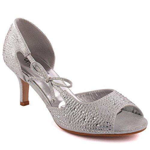 Toe T-bar (Unze Frauen 'Blac' Diamante verschönert Peep-Toe High Stilettabsatz Abendgesellschaft Karneval Holen Sie sich Brunch Hochzeit Ferse Sandalen Court Schuhe Größe 3-8 - T33A-5)