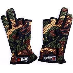TENDUAGEN Camuflaje Camo antideslizante 3 corte dedo pesca al aire libre caza guantes