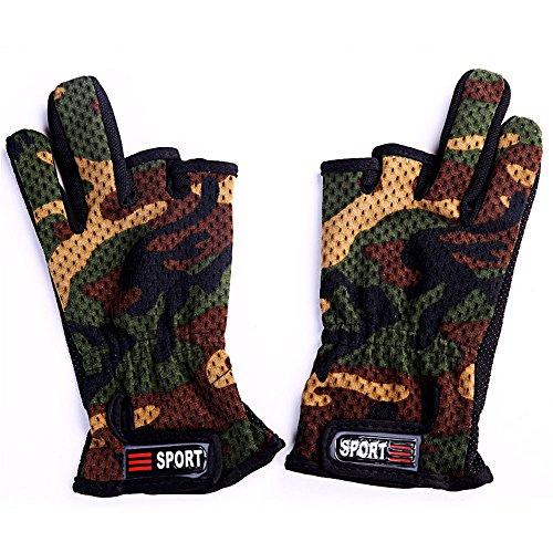 TENDUAGEN Camouflage Camo rutschfeste 3Cut Finger Angeln Outdoor Jagd Handschuhe -