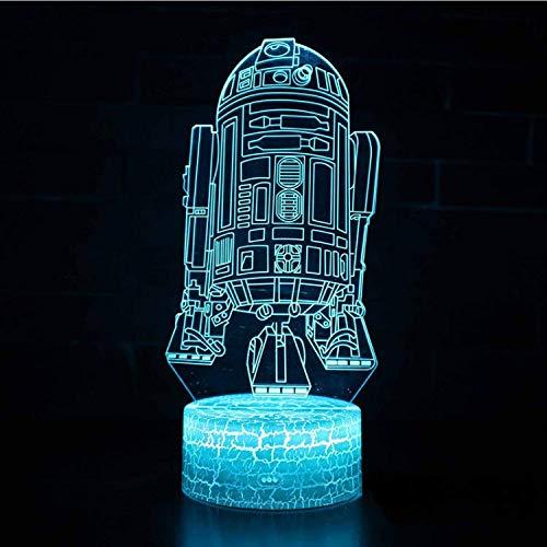 Optische Täuschungslampe Star Wars Robot Thema 3D Lampe LED Nachtlicht 7 Farbwechsel Stimmung Lampe Riss Touch-Schalter (Wars Star Bar-thema)