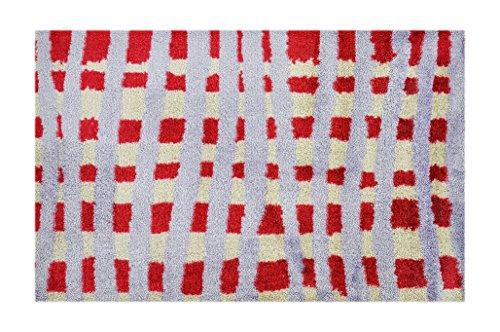 LifeStyle-Mat 150340 Fußmatte, waschbar und rutschfest, Mikrofaser, kariert rot / beige / flieder, 50 x 75 x 1.1 cm