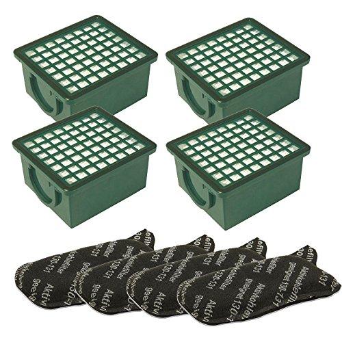 1-Filterset-4-Hepa-Filter-H-12-grn-4-Kohlefilter-passend-fr-Vorwerk-Kobold-130-131-SC-Staubsauger