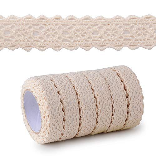 6 rollos(12yardas) Cinta Puntillas Adhesiva de Encaje Decorativa para Scrapbooking Manualidades Decoración Boda Fiesta Regalo Beige