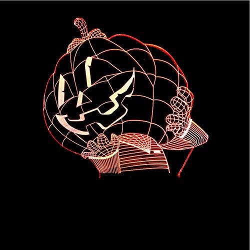 3D Led Nachttischlampen 7 Farben Atmosphäre Baby Schlaf Lichter Kürbis Mann Halloween Kürbis Hut Tischlampe Weihnachtsgeschenk Nacht Dekor