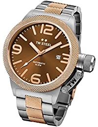 TW Steel Canteen Men's Automatic Watch with Brown Dial Analogue Display and Grey Stainless Steel Rose Gold Plated Bracelet CB156
