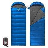 Outdoor Daunen-Hohle Baumwolle Schlafsack Eider Sleeping Bag Daunenschlafsack fur Camping Wandern(light blue)