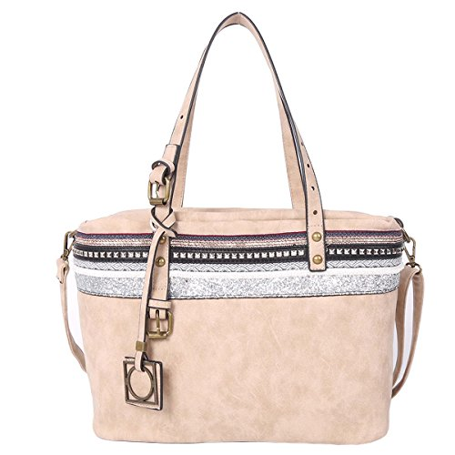 21K Borsa a tracolla di cuoio delle borse della spalla delle donne ed imbottitura del merletto KF1704 beige